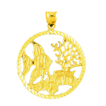 14k gold seascape tropical fish medallion