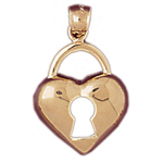 14k gold heart lock with cutout key charm pendant