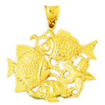 14k gold fish starfish sea turtle pendant