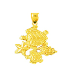 14k gold whelk shell starfish sea turtle pendant