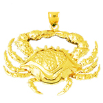 14k gold crab sealife pendant