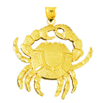 14k gold 32mm crab pendant