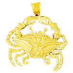 14 karat 30mm gold crab pendant
