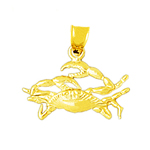14k gold sea life crab charm
