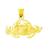 14k gold sealife crab pendant