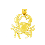 14k gold 18mm crab pendant