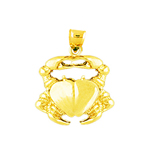 14kt gold sea life crab pendant