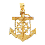 14k gold anchor crucifix charm pendant