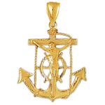 14k gold crucifix anchor charm pendant