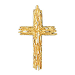 14k gold woodgrain cross charm pendant
