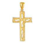 14k gold passion cross charm pendant