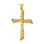 14k gold 32mm cross charm pendant