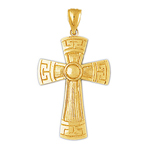 14k gold 32mm greek key cross charm pendant