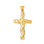 14k gold woodgrain cross with scarf charm pendant