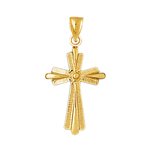 14k gold layered cross charm pendant