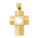 14k gold cross with open heart charm pendant