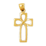 14k gold stylish cross charm pendant