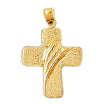 14k gold tombstone cross charm pendant
