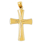 14k gold 48mm cross charm pendant
