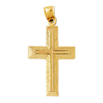 14k gold 47mm cross charm pendant