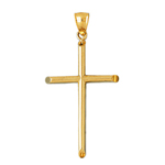 14k gold 40mm beveled cross charm pendant