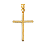 14k gold beveled cross charm pendant