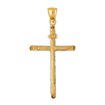 14k gold inri cross charm pendant