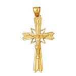 14k gold 45mm inri crucifix charm pendant