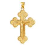14k gold eastern orthodox crucifix charm pendant