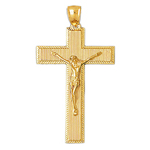 14k gold 46mm crucifix charm pendant