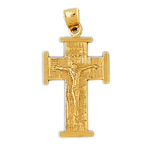 14k gold 23mm crucifix charm pendant