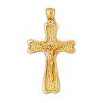 14k gold 30mm crucifix charm pendant