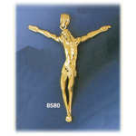 14k gold jesus body crucifix charm pendant