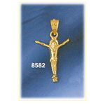 14k gold jesus body crucifix charm