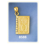 14k gold 3d holy bible charm