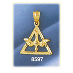 14k gold holy spirit dove in trinity triangle charm
