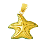 14k gold 26mm sealife starfish charm pendant