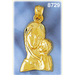 14k gold madonna and child pendant
