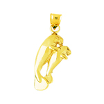 14k gold manatee and calf charm pendant