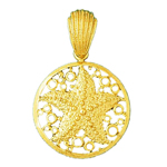 14k gold starfish with encircled bubbles pendant