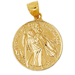 14k gold 25mm saint christopher protect us coin medallion