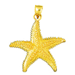 14k gold sealife starfish charm pendant