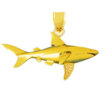 14k gold 60mm wide shark charm pendant