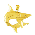 14k gold swirly shark charm pendant