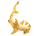 14k gold shark catching fish in mouth charm pendant