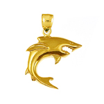 14k gold wide open jaws shark charm pendant