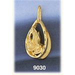 14k gold praying hands encircled pendant