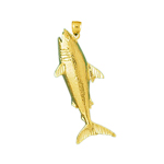 14k gold shark swimming to surface charm pendant