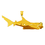14k gold shark catching a fish charm pendant