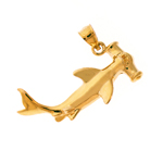 14k gold 30mm long hammerhead shark charm pendant